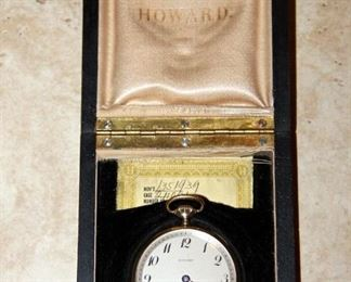 14K Howard Pocketwatch with Original Case & Papers