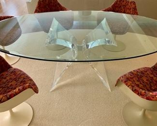 Oval table with Lucite Butterfly base