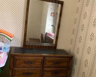 #1Chest of Drawers w/6 drawers w/black slate look w/mirror   44x17x30 mirror  29x40 $65.00