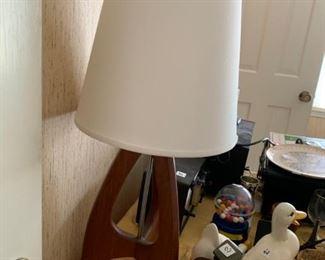 #6Mid-Century Wood Base Lamp (shaped like a rocket)  $75 each $150.00