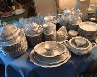 Johann Haviland Blue Garland with footed cups and coupe soups. Large plates, luncheon plates, dessert plates, fruit bowls, too. MOST of a service for 16. Double vegetable bowls and casseroles with handles (missing one lid); coffee server, sugar and creamer, two platters.