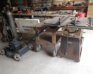 Craftsman Lawn Mower. Acetylene Torch/Tanks.Table Saw.