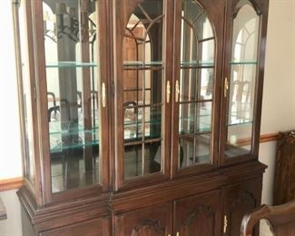Harden China Cabinet with Glass Doors and Lit with Glass Shelves
