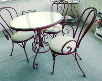 antique ice cream parlor table set