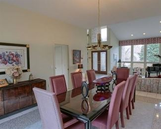 Piano, dinning table and chairs, artwork, interior decor and beautiful buffet/display is for sale!