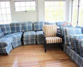 Plaid Sectional and Side Chair
