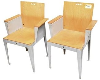 8. Pair Modern Designer Bent Metal Armchairs
