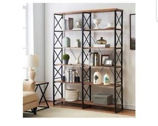 Lo&K 6 Tier Double Bookcase