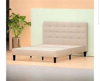 Zinus Upholstered Button Tufted Platform Bed with Wooden Slats, King