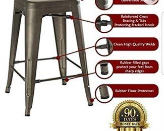 UrbanMod 24 Inch Bar Stools for Kitchen Counter Height, Indoor Outdoor Metal,Rustic Gunmetal.