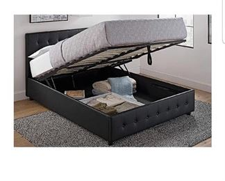 DHP Cambridge Upholstered Faux Leather Platform Bed with Wooden Slat Support and Under Bed Storage, Button Tufted Headboard Queen Size - Black and Black Queen Headboard
