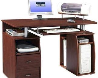 Complete Computer Workstation Desk with Storage - Mahogany (Brown) - Techni Mobili