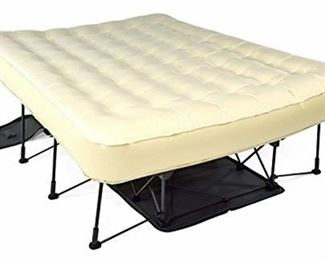 Ivation EZ-Bed (Queen) Air Mattress With Frame & Rolling Case, Self Inflatable, Blow Up Bed Auto Shut-Off, Comfortable Surface AirBed, Best for Guest, Travel, Vacation, Camping