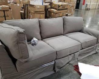Sofa - 3 Cushion, Grey Canvas