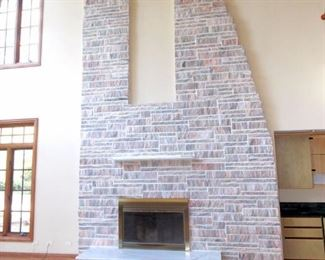 Natural Stone Fireplace Brass Fireplace Doors Marble Hearth