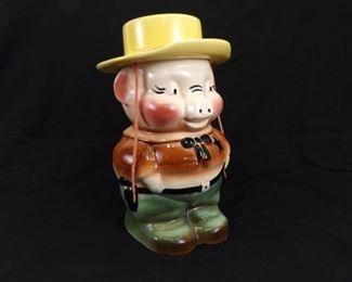 Vintage Roseville Pottery Pig Sheriff Cookie Jar