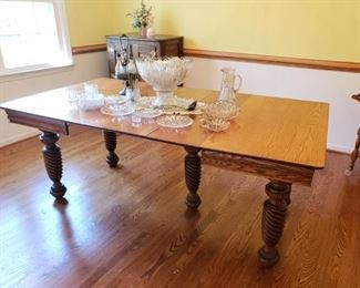 Square Oak table with 3 leaves..nicely refinished