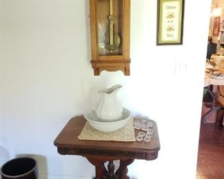 Victorian table , Ironstone Bowl and Pitcher, Oak wall clock