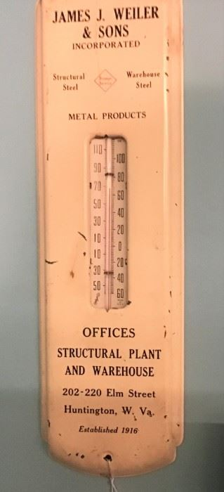 Vintage Advertising Thermometer from James Weiler & Sons of Huntington, WV
