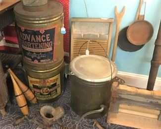Vintage and Antique Containers, Washboards, and Parts