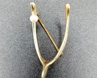 14K gold wishbone pin with pearl