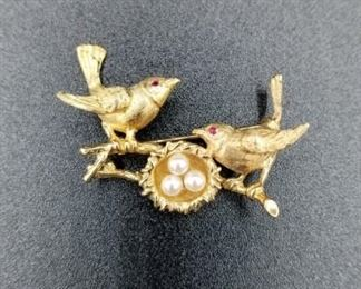 14K birds on branch pin with pearls