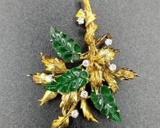 14K gold, jade, and diamond brooch