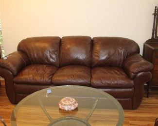 Lazy Boy brown leather sofa