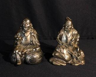 Pair Japanese Silver Figurine Set