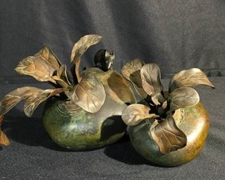 Japanese Bronze Turnip and Rat Sculpture