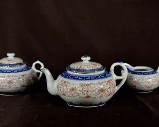 Chinese Pocelain Teaset - Rice Grain