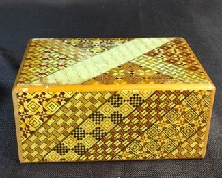 Japanese Lacquer Box with Inlays and Silver Enamle