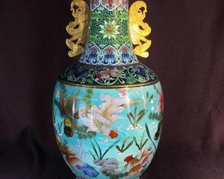 Chinese Cloisonne Vase - Gold Fish