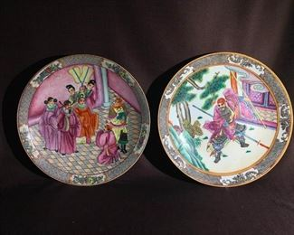 Two Chinese Porcelain Charger with Warriors
