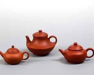 Three Chinese Yixin Teapots