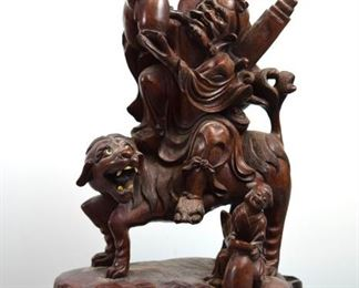 Chinese Carved Wood Immortal on Lion