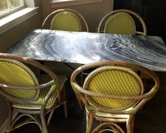 kitchen table - green marble topped - chairs sold separately