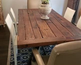 "Beautiful dining table - reclaimed wood mounted on railroad metal legs - measures 84"" x 40"""