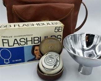 Flash accessories including vintage Bertram Chrostar light meter - all sold separately
