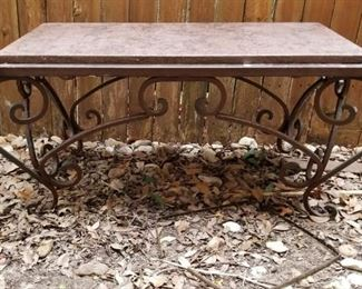 marble topped metal table