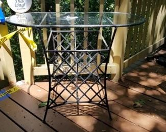 outdoor glass topped accent table