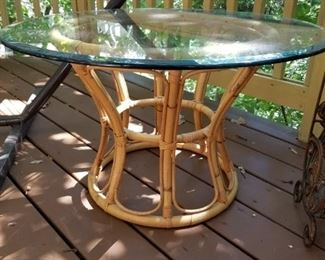 glass topped rattan table