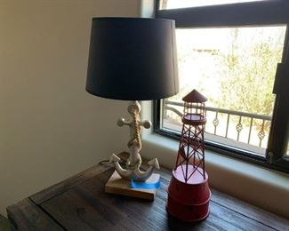 Anchor lamp and lighthouse decor