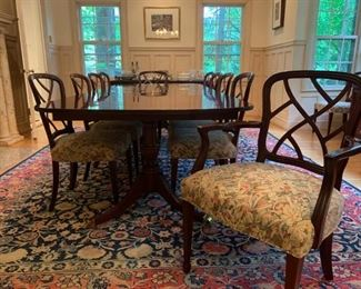 Kindel Double Pedestal Dining Table, with 10 Side Chairs and 2 Captains Chairs