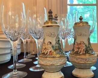 Capodimonte Salt and Pepper Shakers, Crystal Stemware