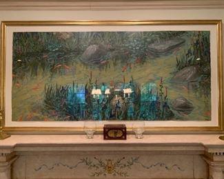 Koi Pond, Hand Painted Three Panel Screen, Signed Kline
