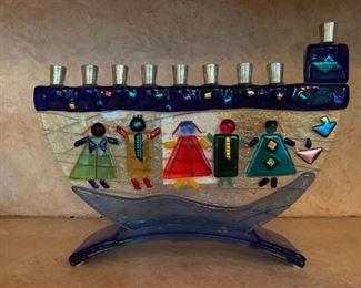 Art Glass Menorah