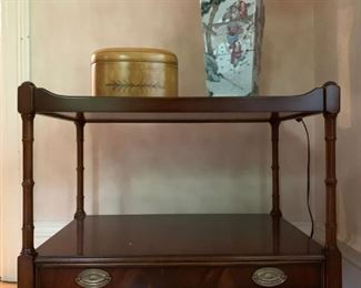 Mahogany Two Tier Stand on Casters