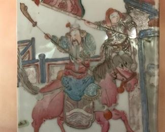 Chinese Export Lamp with Warriors on Horseback
