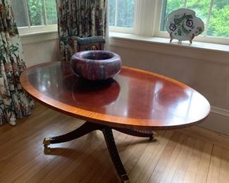 Banded Edge Oval Coffee Table